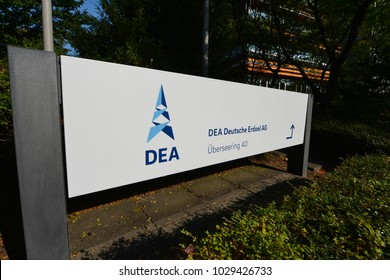 Hamburg / Germany - September 25, 2016: Sign with the Logo of the German Petroleum Company - DEA, Deutsche Erdoel AG - in front of the headquarters in Hamburg, Germany