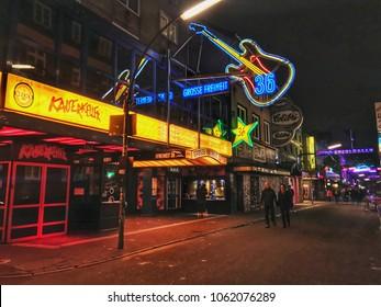 Hamburg, Germany - September 26, 2017: Night life in Hamburg city