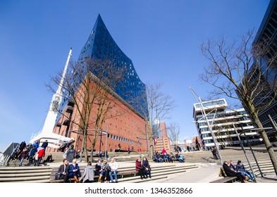 Hamburg, Germany-2. April 2018: The Elbphilharmonie at the Platz der Deutschen Einheit on a spring day with good weather