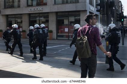Hamburg Germany-July 7th 2017:Riot Policemen petrol on the street during G20 summit in Hamburg.