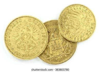 Hamburg gold coins (German Empire Goldmark) isolated on white background