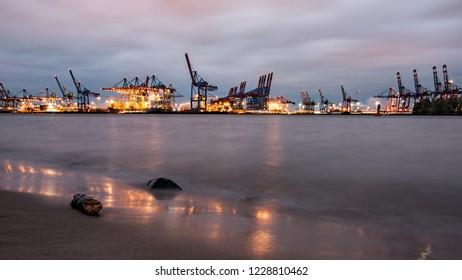 hamburg harbor, river in the evening