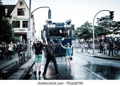 HAMBURG, JULY 6, 2017: Protesters against G20 summit in Hamburg face police raids