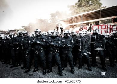 HAMBURG, JULY 6, 2017: Riot policemen during the demonstration against G20 summit in Hamburg, Germany.