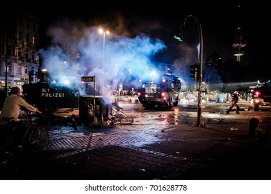 HAMBURG, JULY 7, 2017: Clashes between protesters and police during G20 summit in Hamburg