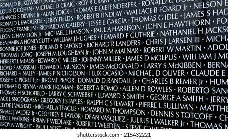 HAMBURG, MI - AUGUST 30: Close-up of names on the traveling Moving Wall Vietnam War memorial exhibit in Hamburg, MI on August 30, 2014.