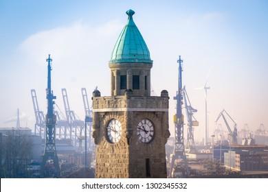 Hamburg mid morning on the landing bridge overlooking the cranes of the shipyard