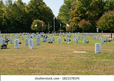 Hamburg, New York / USA - September 25 2020: Military Flags at Veterans Field of Valor