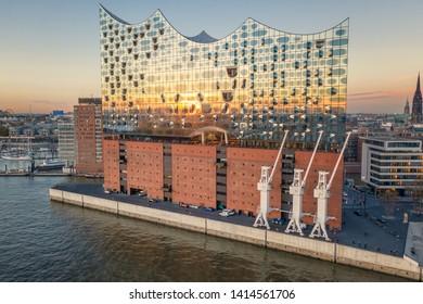 HAMBURG - NOV 7: Elbe Concert Hall November 7, 2018 in Hamburg, Germany. The Elbe Philharmonic is a concert hall in the Hafencity quarter and a new landmark in Hamburg