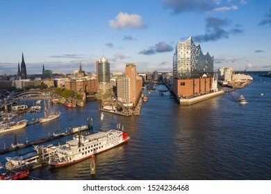 HAMBURG - OCT 5: Elbe Concert Hall October 5, 2019 in Hamburg, Germany. The Elbe Philharmonic is a concert hall in the Hafencity quarter and a new landmark in Hamburg