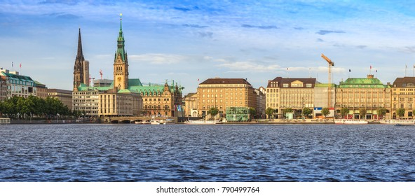 Hamburg old town panorama city skyline at Alster Lake, Hamburg, Germany