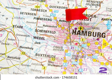 Hamburg on the map of Germany highlighted