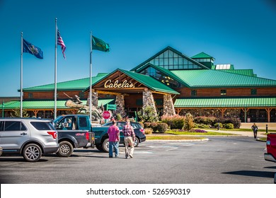 Hamburg, PA - October 14, 2016: Cabela's is a multi-location, specialty retailer of hunting, fishing, boating, camping, shooting, and outdoor recreation merchandise, based in Sidney, Nebraska.