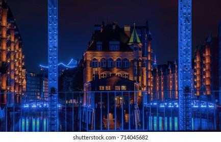 Hamburg Panorama at night. With blue illuminated harbour