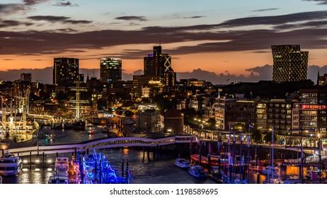 Hamburg, Skyline in the evening