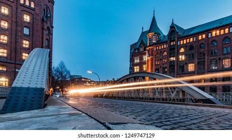 Hamburg, Speicherstadt in the evening