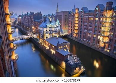 Hamburg- Speicherstadt. Image of Hamburg- Speicherstadt during twilight blue hour.