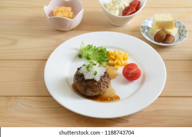 Hamburg steak is a patty of ground beef. It is closely similar to the Salisbury steak. In Japan, it  is usually topped with grated daikon. It is one of the most popular fusion dish in the country.