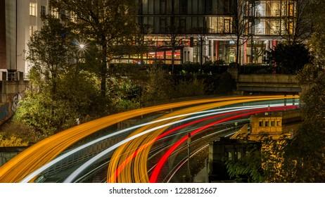 hamburg, subway, station, lights
