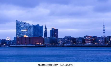 Hamburg view at  harbor city with St Michaelis Church and Elbe Philharmonic Hall