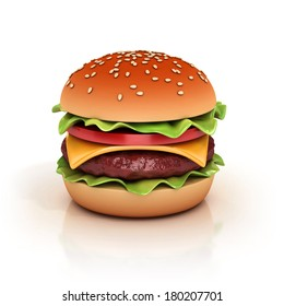 hamburger 3d illustration