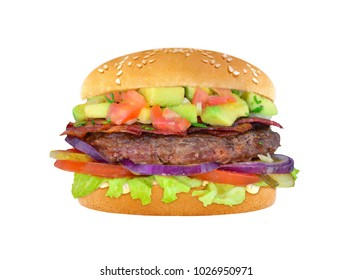 Hamburger with beef and avocado isolated background