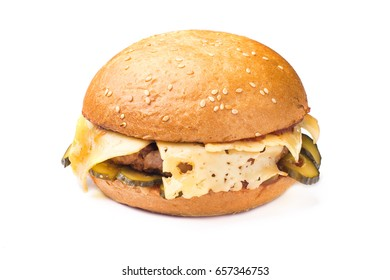 hamburger with beef and cheese isolated on white background