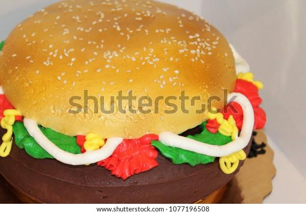 Fine Hamburger Birthday Cake Stock Photo Edit Now 1077196508 Funny Birthday Cards Online Inifodamsfinfo