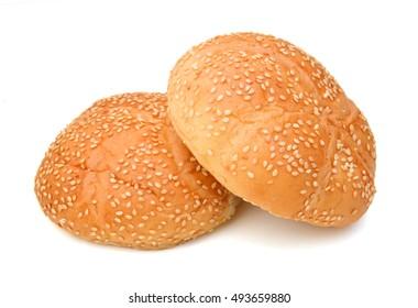 Hamburger buns on a white background