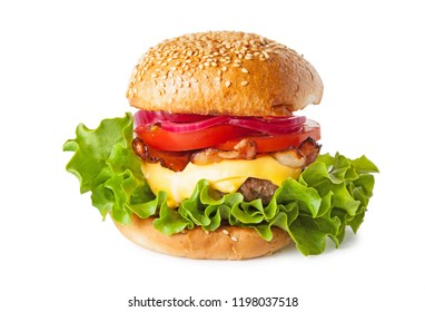Hamburger, cheese burger on a white background.