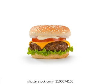 hamburger with cheese and vegetables