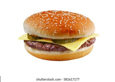 Hamburger, cheeseburger, Burger with cheese and salad isolated on white background