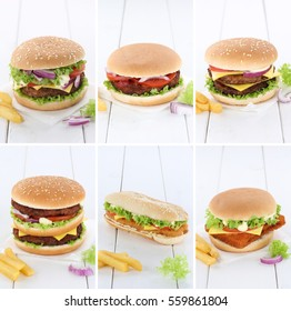 Hamburger collection set cheeseburger copyspace copy space beef tomatoes lettuce cheese unhealthy