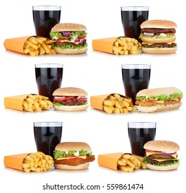 Hamburger collection set cheeseburger and french fries menu meal combo cola drink isolated on a white background