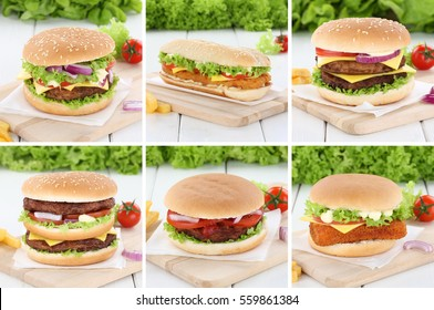 Hamburger collection set cheeseburger fresh beef onion tomatoes lettuce cheese unhealthy
