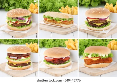 Hamburger collection set cheeseburger and fries beef tomatoes lettuce cheese unhealthy