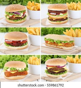 Hamburger collection set cheeseburger with fries tomatoes lettuce cheese unhealthy