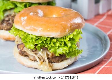 hamburger enoki mushroom glazed donut sandwich