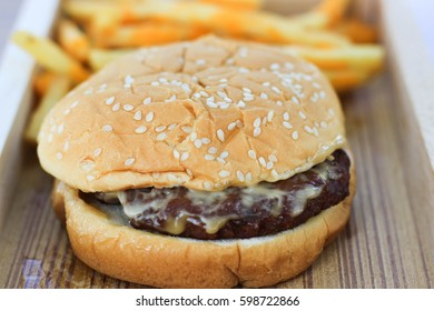 hamburger and french fries for breakfast