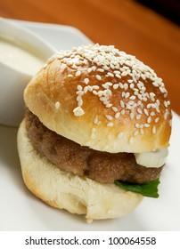 Hamburger with french fries. closeup