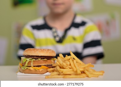 Hamburger and french fries for unhealthy lunch