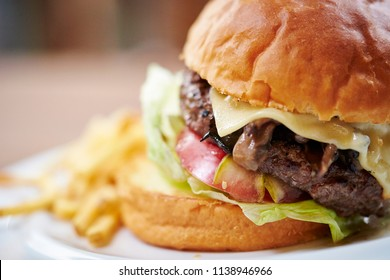 Hamburger with fried potato