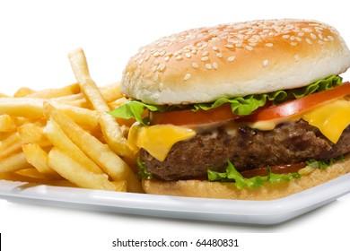 hamburger with fries on white background