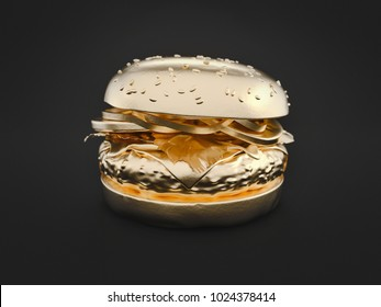 Hamburger gold is on black background. 3d render and illustration.