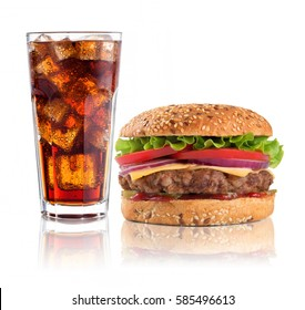 Hamburger with iced soda drink on white background.