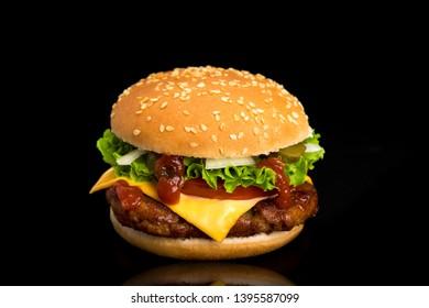 hamburger isolated on black background