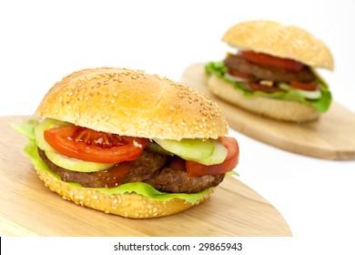 hamburger with lettuce,cheddar,tomato