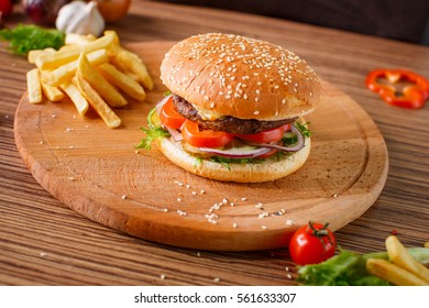 Hamburger with meat cutlet