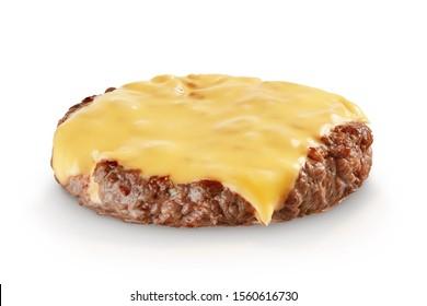 Hamburger meat with melting slice of cheese isolated on white background