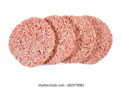 Hamburger, minced beef on a white background